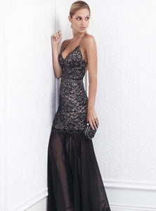 Magda Black Stretch Lace Handpainted Gowns - Long Dress