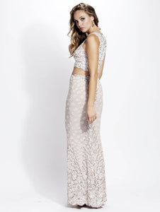 Lidia Pearl Stretch Lace Jersey Hand-Painted Long Dress