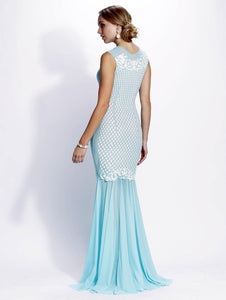 Baby Blue Mesh Long Dress. Long dresses near miami. Party dresses for sale. Handmade shape long dresses for cocktail event. Cocktail party long dresses for woman. Latest Miami fashion long dresses and gowns for sale.