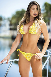 Swimwear. Paola Bikini Lace Yellow Yellow. Baccio Miami Fashion Design