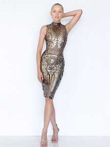Vintage Short Dress Design Cocktail Dress. Quartz takes her cues from the timelessly sexy elements of vintage dress design: classic cut and sequined detail. This fabulous, figure-hugging sequin dress uses bodycon style bodice to nip in the waist and create an hourglass silhouette. Brass zipper runs of the centre back
