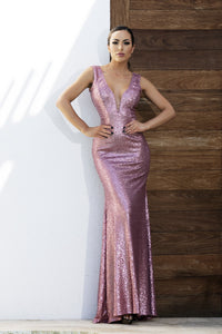 Sequins Pink Long Dress. Gowns near miami. Party dresses for sale. Handmade long cocktail event dresses. Cocktail party long pink dresses for woman. Latest Miami fashion long dresses and gowns for sale.
