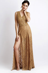 Lace Gold Long Party Dress. Long dresses near miami. Party dresses for sale. Handmade shape long dresses for cocktail event. Cocktail party long dresses for woman. Latest Miami fashion long dresses and gowns for sale.