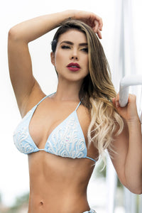 Baby Blue White Spandex Bikini TOP. Latest Miami fashion and couture swimwear and beachwear for sale. Miami beachwear. Beach fashion handpainted bikini fashion in miami. Swimwear. Find Bikini Cover up lace Baccio Miami Fashion Design. Beachwear Design