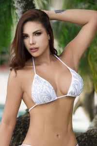 Top bikini swimwear beach fashion white silver handpainted bikinis swimwear,  top bikinis for woman. Swimwear in miami. Latest Miami fashion and couture swimwear for sale. Swimwear fashion ambassador. Find tops bikinis fashion Baccio Couture design. Get free USA Ground shipping and International shipping from $39.99