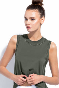 The Knot Tank Army - Sportwear. Lasercut trim. 100% PIMA Cotton. Crew neck Cropped muscle tank style. Laser-cut precision cutting. Hand weaved braids. Nylon/spandex. Dresses, sportwear, shirts, skirts, pants, belts, handgabs and accesories. Miami fasion online store. Staysafe. Shop at home