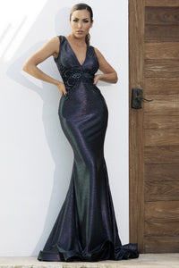 Metallic Deep Blue Long Dress. Gowns near miami. Party dresses for sale. Handmade long cocktail event dresses. Cocktail party long dress for woman. Latest Miami fashion long dresses and gowns for sale.