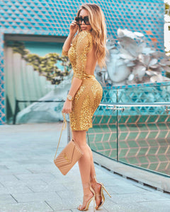 Golden Short Woman Dress. Gold party short dress for woman. Miami Fashion Online Dresses Store Ocassion Dresses. Miami Fashion Cocktail Dresses Store. Woman short dresses near Miami. Online fashion for woman. Prom and party dresses. Three weeks order time - Special production. Special ocassion woman dresses in Miami.