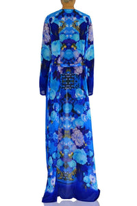 Floral Print Long Duster In Azure