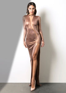 Bronze Shimmer Silhouette Deep Cut Long Dress - Gowns. A true classic. Natasha is a luxurious dress to give a form to your figure. Fabric: 80% Polyester 20% SpandexThickness of material: Thin-No show through. This dress comes with lining. Miami fashion online store. Woman dresses for concktail and party ocassion. Shop.
