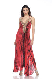 Maxi dress Hi low hem with embellished neckline