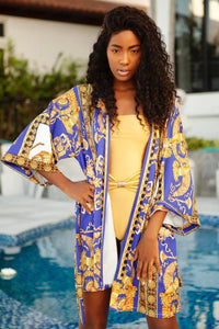Monica Swim Cover Up in Blue Lion Print