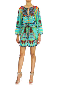 Short Silk Romper In Aqua