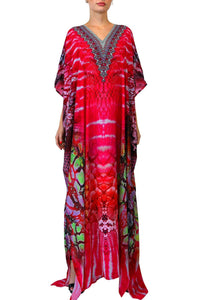 Luxury Long Kaftan Dress In Pink