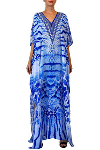 Blue Kaftan In Animal Print