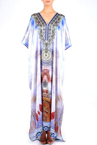 White And Blue Kaftan HM