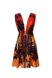 Coachella Print Short Dress In Sunset