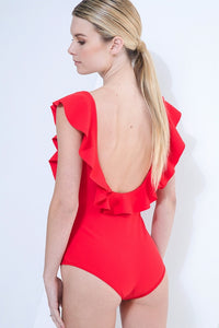Retro Ruffle One Piece True Red. Retro-chic beach babe in this flirty and fitted one piece. The double-cascading ruffle detail frames the bodice giving this a playful look from the front, while the deep-scooped. Features: Lined, Wide shoulder straps with ruffles detail, Back is deep round-shape, Full coverage.