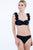 Daisy Strap Bandeau Hipster Bikini Set in Black Feminine bikini set by Badgley Mischka features beautiful laser-cut floral trim shoulder straps. Features:  Adjustable shoulder straps, Flower trim shoulder straps, Fully lined, Hipster bottom, 73% nylon, 23% elastane