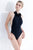 Garden Neck Halter One Piece in Black. Feminine one piece swimsuit by Badgley Mischka features beautiful laser-cut floral trim. Features: Flower embellished high neck, Fully lined, Removable bra cups, Cheeky one piece, 82% polymide, 18% spandex, Hand wash/ hang dry. Imported