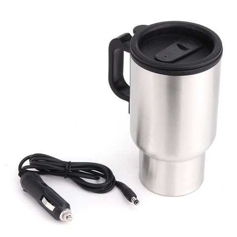 450ML Car Based Heating Stainless Steel Cup Kettle Travel Coffee Heated Mug Motor Hot Water Heater With Cigar Lighter Cable 12V