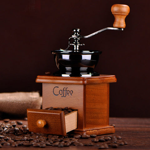 HMM- Coffee Mill Wooden And Metal Design Retro Mini Manual Coffe Grinder