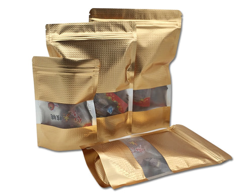 50Pcs/Lot 17*25cm Gold Stand Up Aluminum Foil Lines With Clear Window Zipper Top Pack Bag Coffee Storage Valve Packaging Bag
