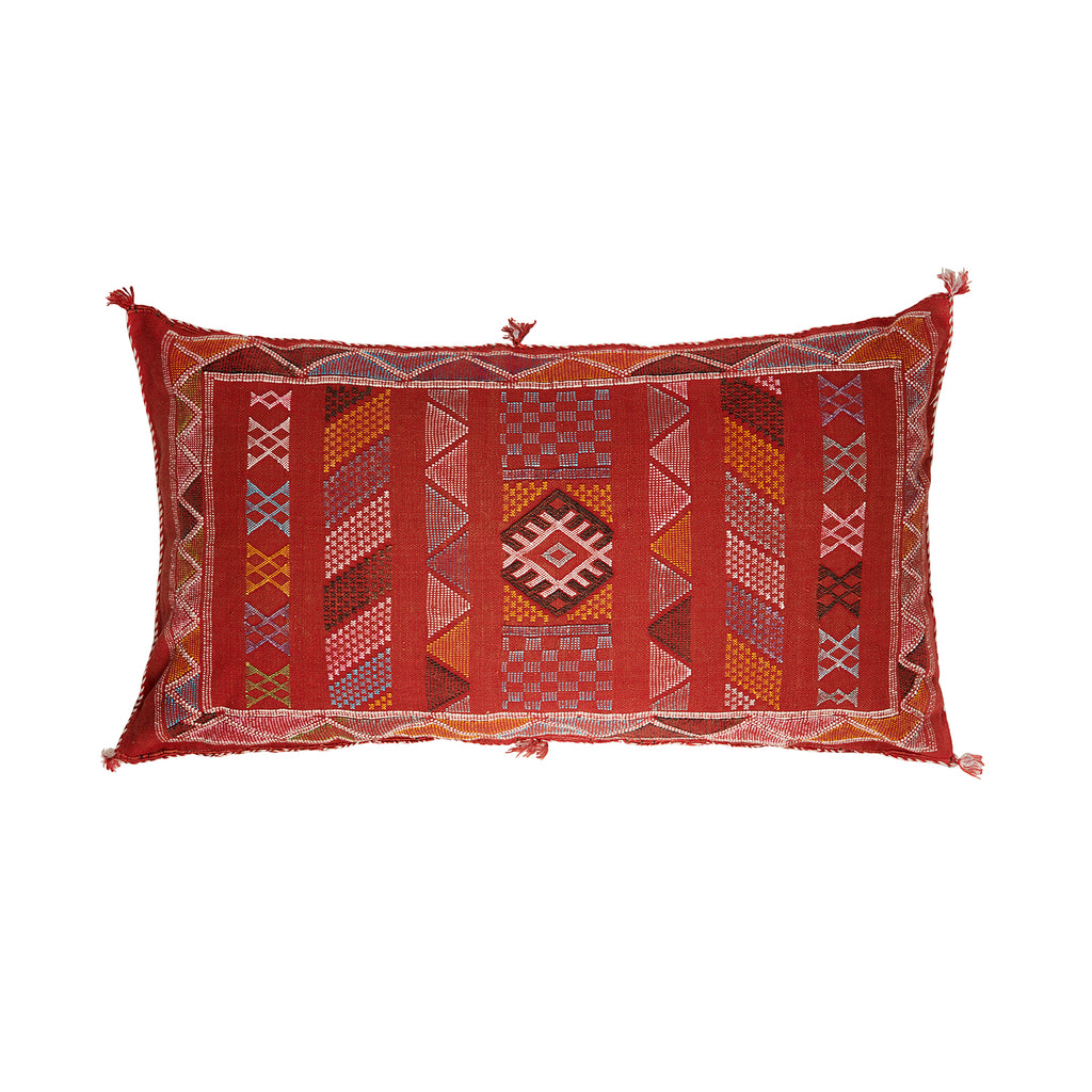 Large Terracotta Red Cactus Silk Lumbar Cushion | Safiyya