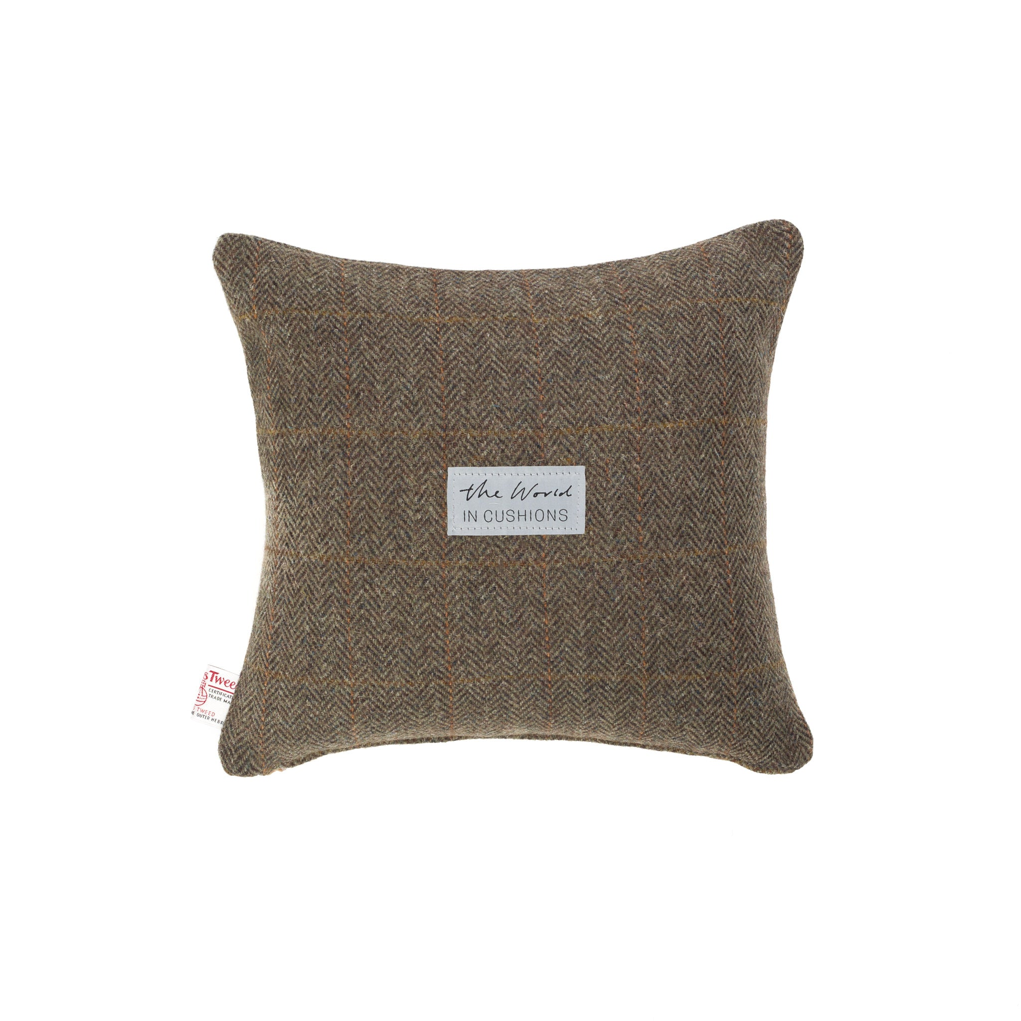 Harris Tweed/Pure Wool/Brown/Orange/Check/Outer Hebrides/Scatter/Cushion/Back/