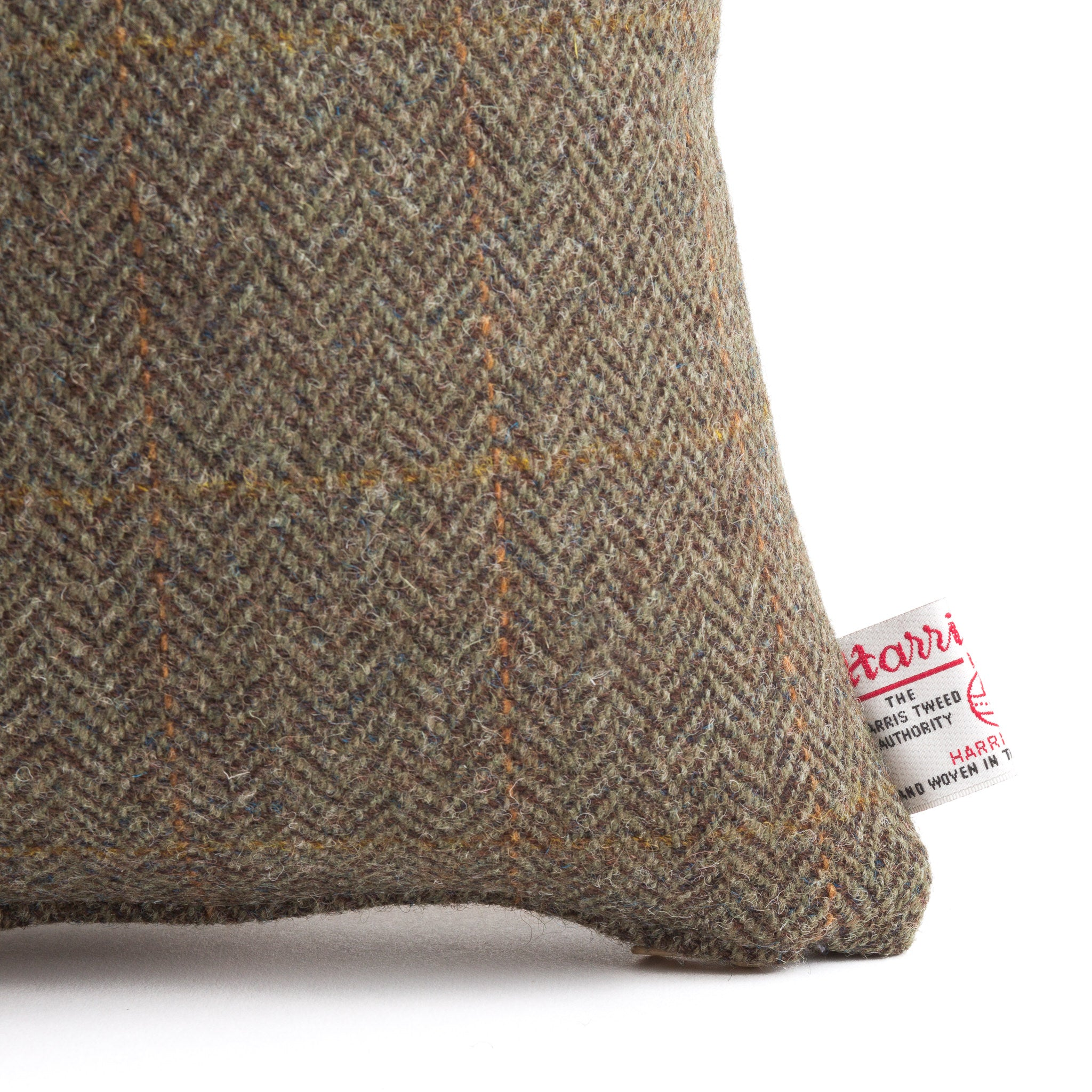 Harris Tweed/Pure Wool/Brown/Orange/Check/Outer Hebrides/Scatter/Cushion/Detail/