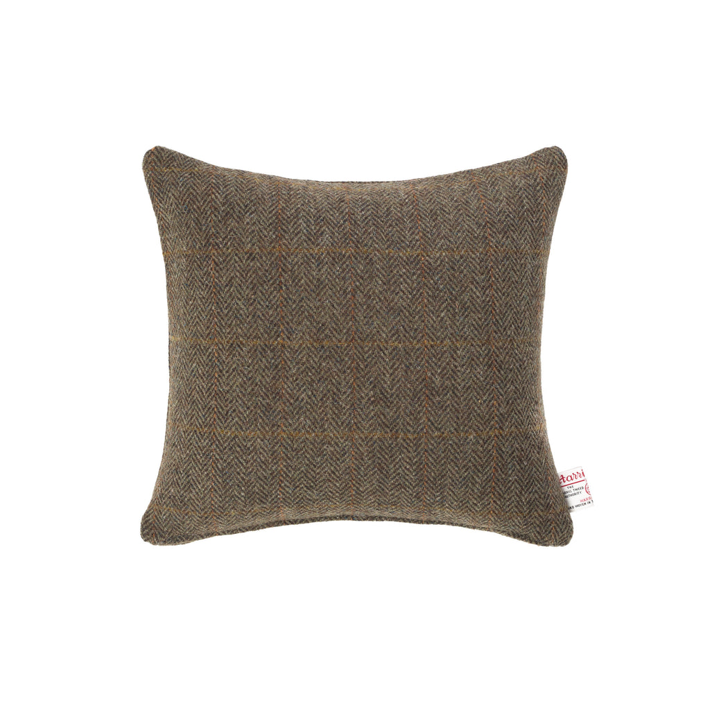 Harris Tweed/Pure Wool/Brown/Orange/Check/Outer Hebrides/Scatter/Cushion/