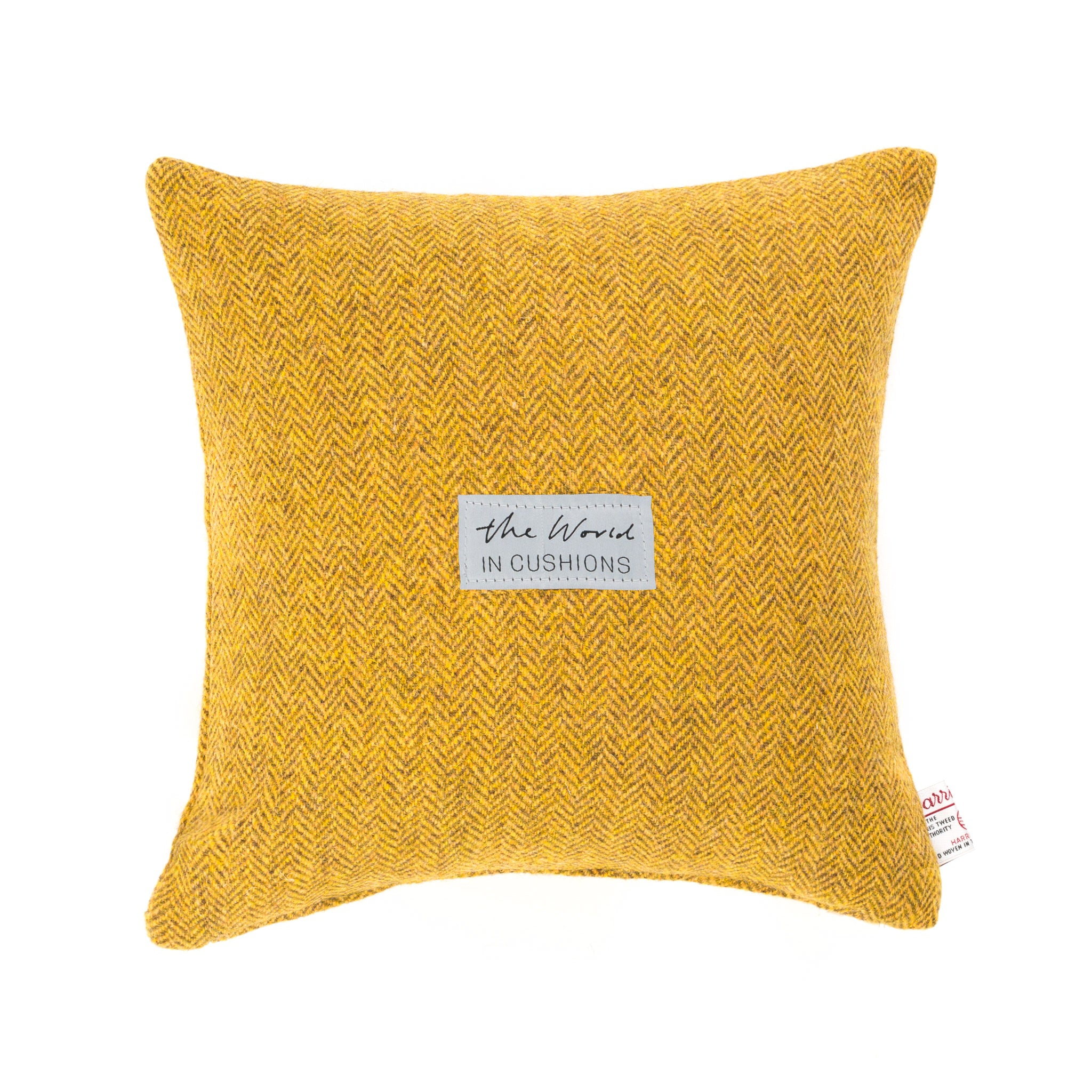 Harris Tweed/Pure Wool/Yellow/Mustard/Gorse/Herringbone/Back/Outer Hebrides/Scatter/Cushion/