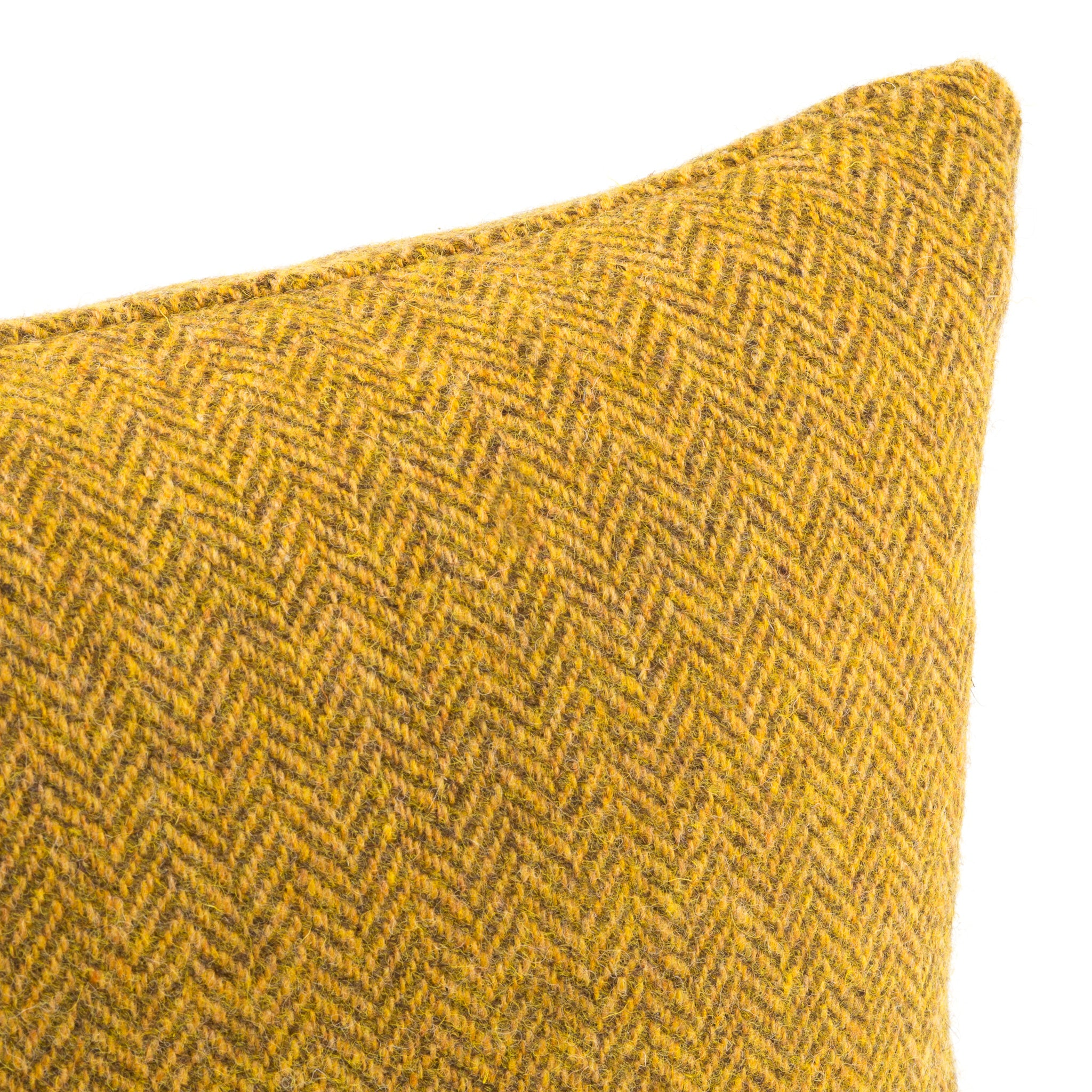 Harris Tweed/Pure Wool/Yellow/Mustard/Gorse/Herringbone/Detail/Outer Hebrides/Scatter/Cushion/