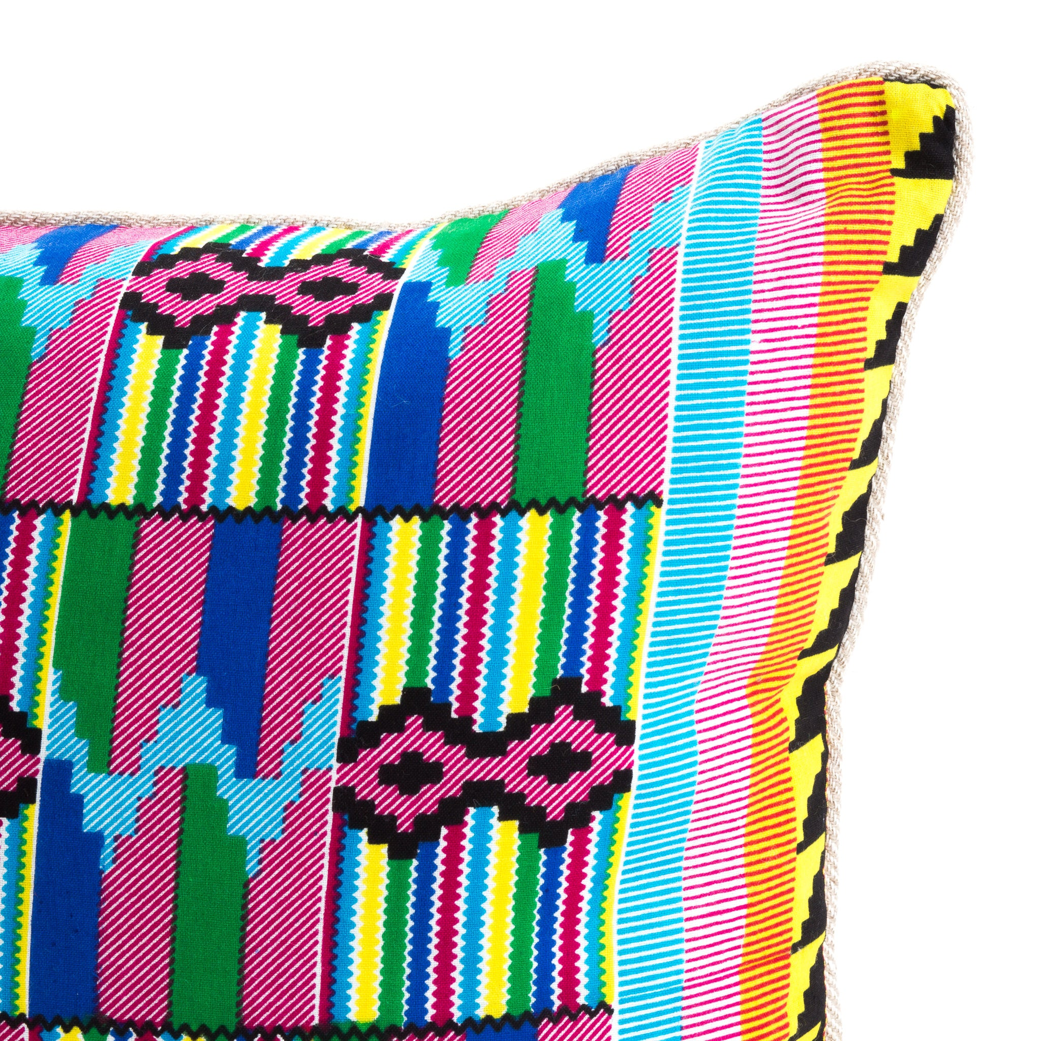 Kente/Ghana/Cotton/Pattern/Pink/Blue/Green/Yellow/Scatter/Cushion/Detail/
