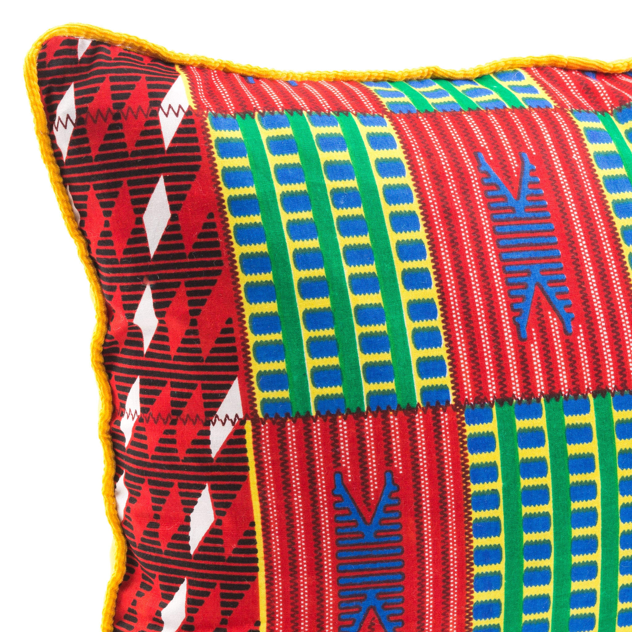 Kente/Ghana/Cotton/Scatter/Cushion/Pattern/Green/Red/Blue/Detail/