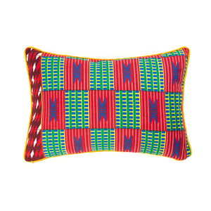 Kente/Ghana/Cotton/Scatter/Cushion/Pattern/Green/Red/Blue/