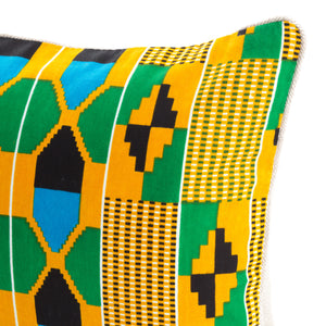 Kente/Ghana/Cotton/Scatter/Cushion/Pattern/Green/Blue/Black/Orange/Detail