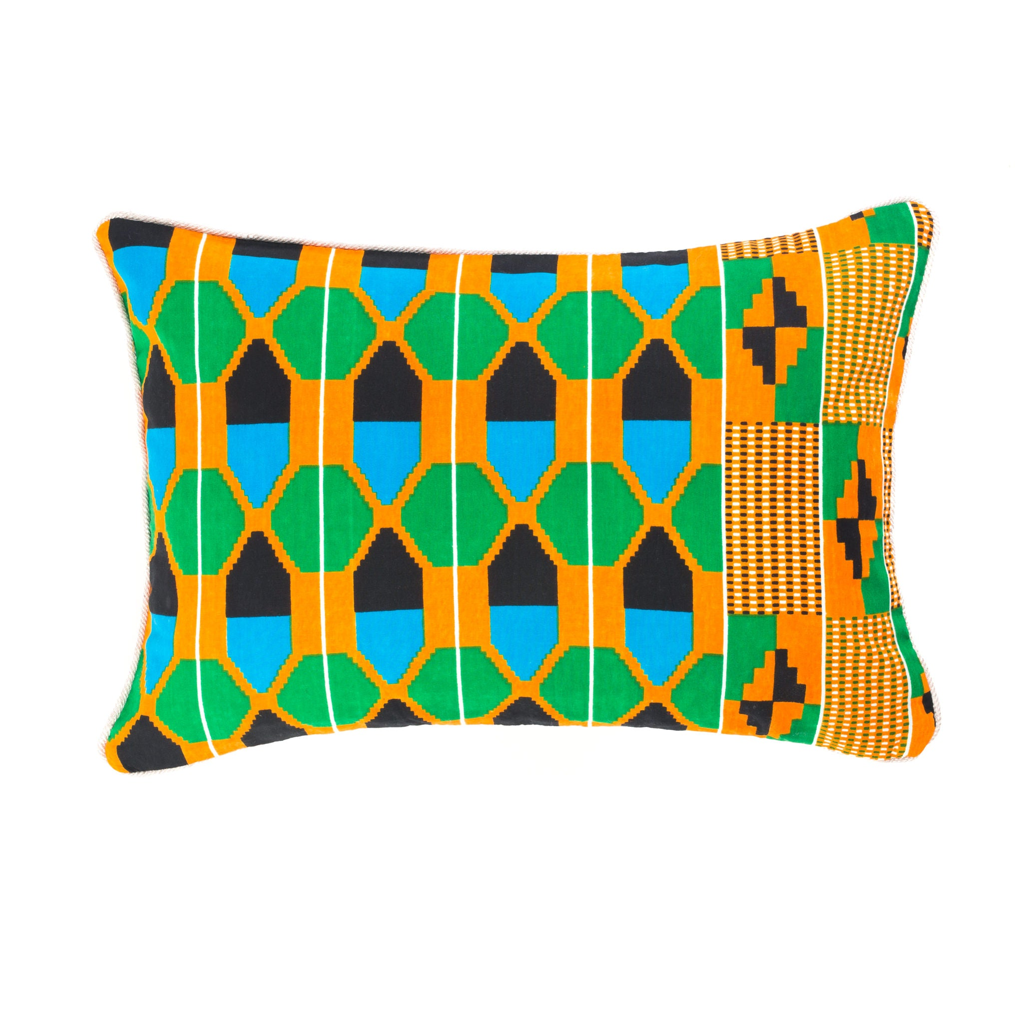 Kente/Ghana/Cotton/Scatter/Cushion/Pattern/Green/Blue/Black/Orange/