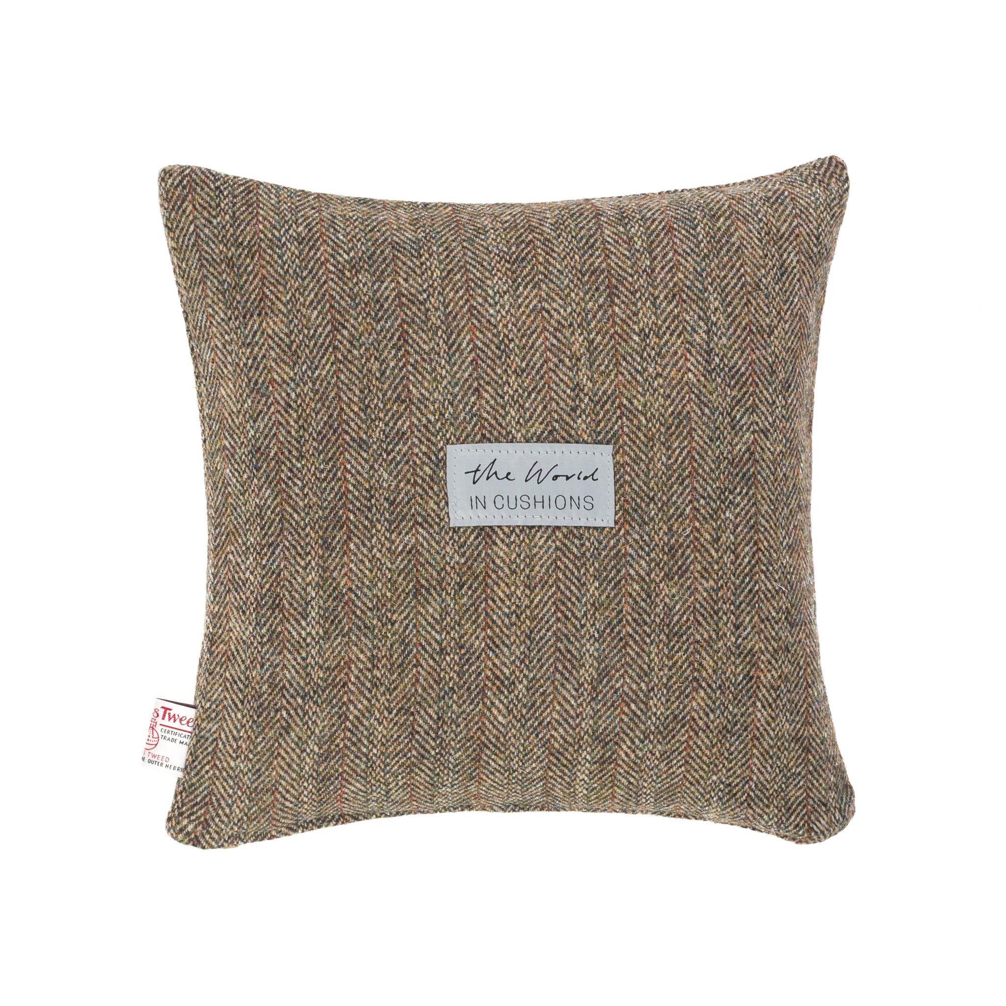 Harris Tweed/Pure Wool/Outer Hebrides/Brown/Herringbone/Red Detail/Scatter/Cushion/Back