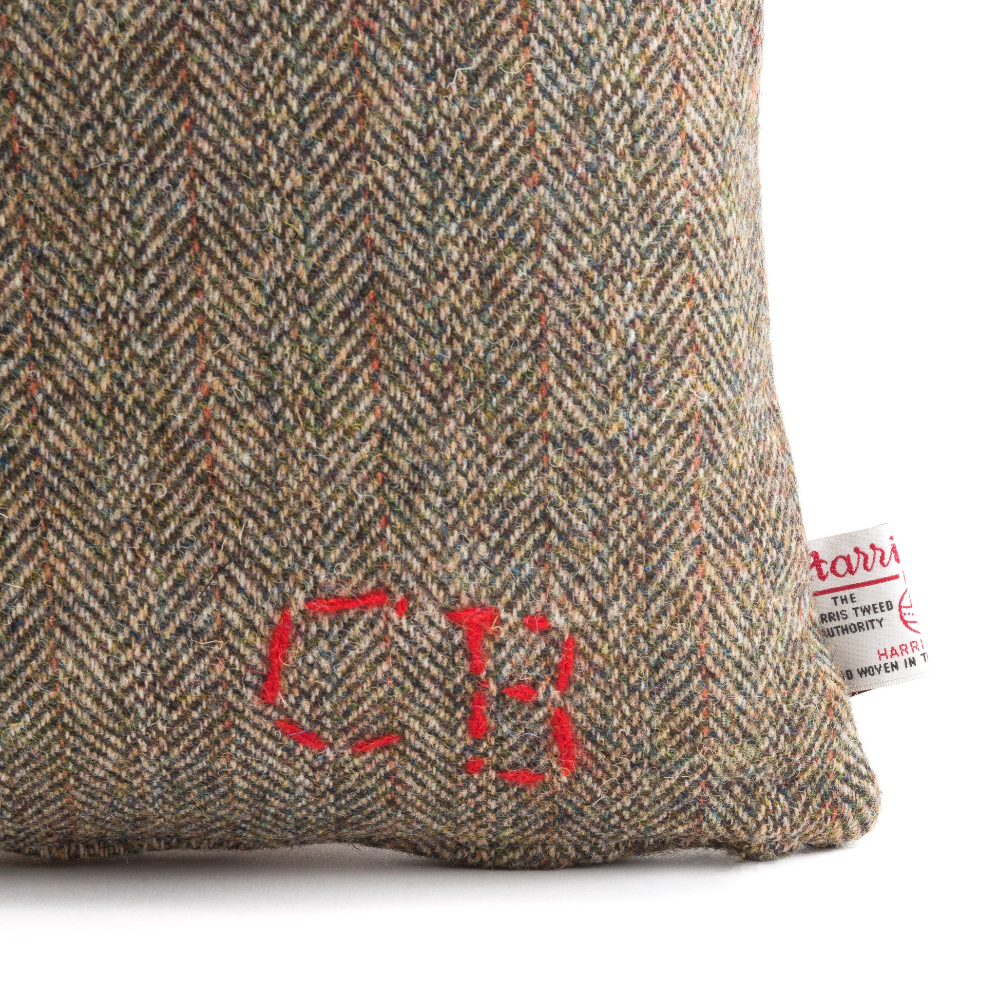 Harris Tweed/Pure Wool/Outer Hebrides/Brown/Herringbone/Red Detail/Scatter/Cushion/Detail/