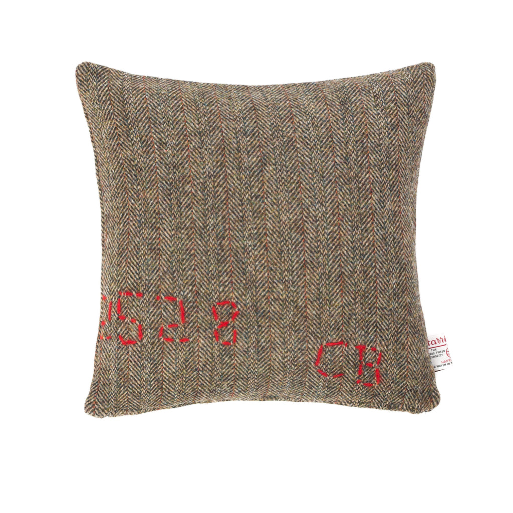 Harris Tweed/Pure Wool/Outer Hebrides/Brown/Herringbone/Red Detail/Scatter/Cushion/