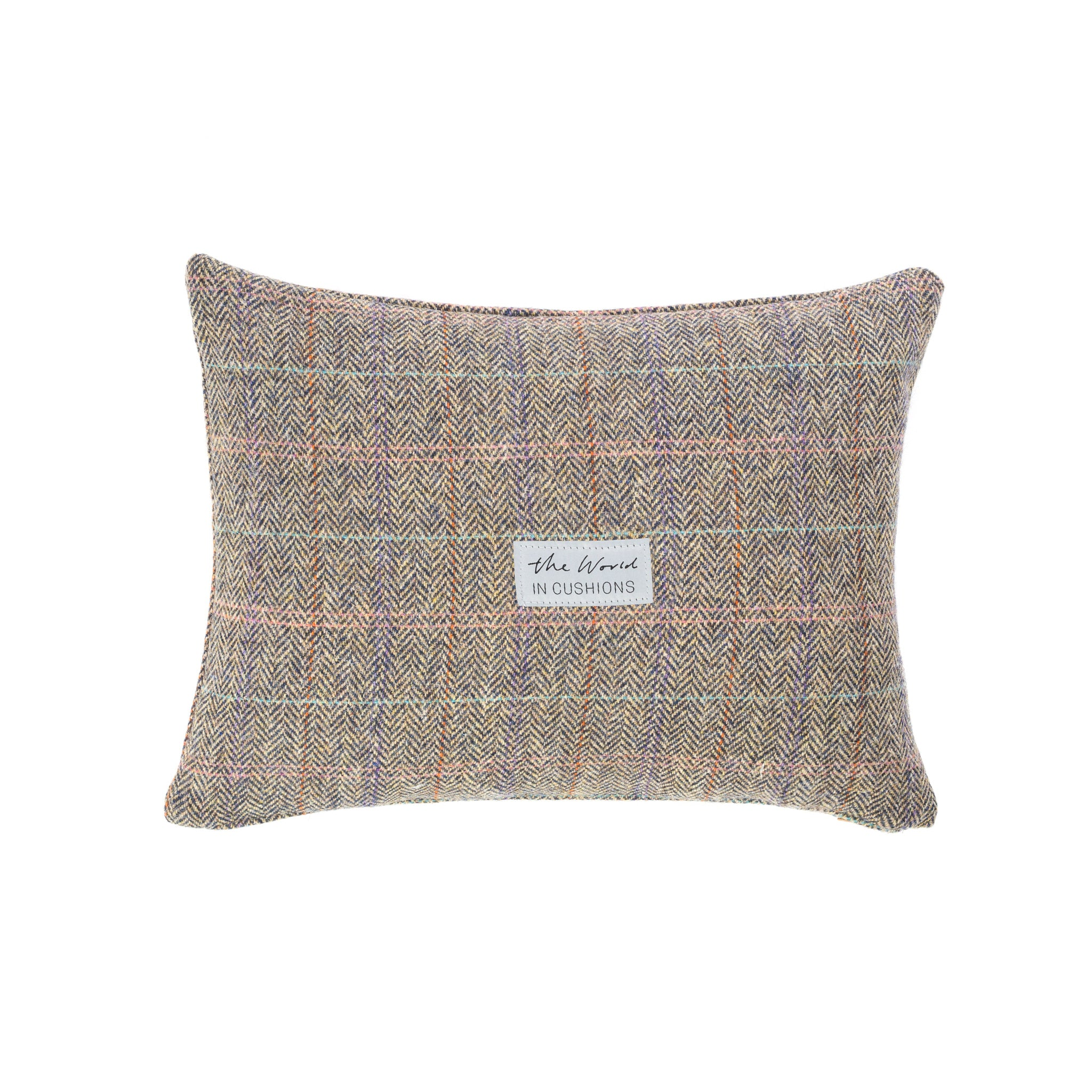 Harris Tweed/Pure Wool/Outer Hebrides/Scatter/Cushion/Beige/Purple/Pink/Pale Blue/Check/Back/