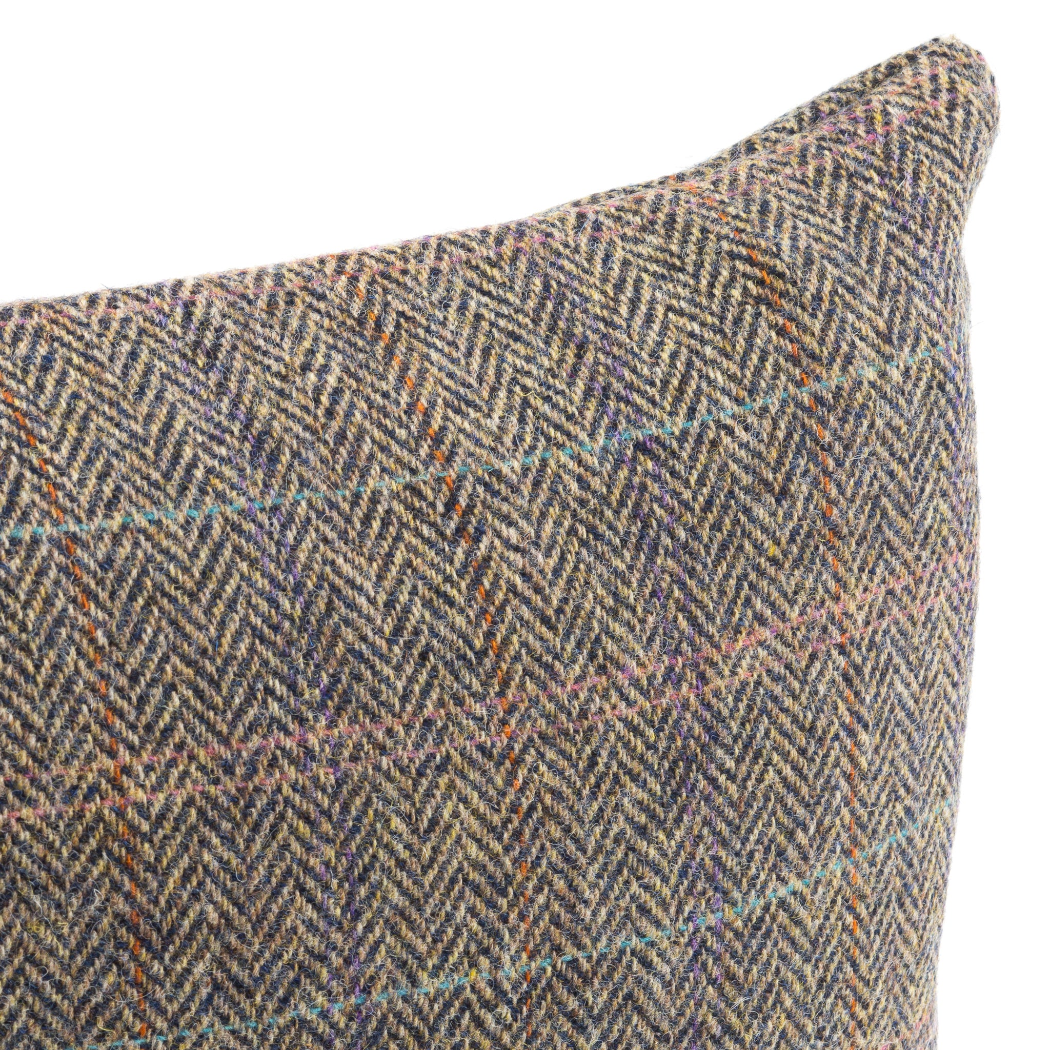 Harris Tweed/Pure Wool/Outer Hebrides/Scatter/Cushion/Beige/Purple/Pink/Pale Blue/Check/Detail/