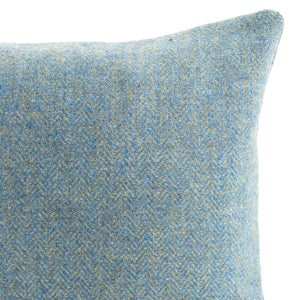 Harris Tweed/Pure Wool/Outer Hebrides/Scatter/Cushion/Pale Blue/Baby Blue/Sky Blue/Herringbone/Detail/