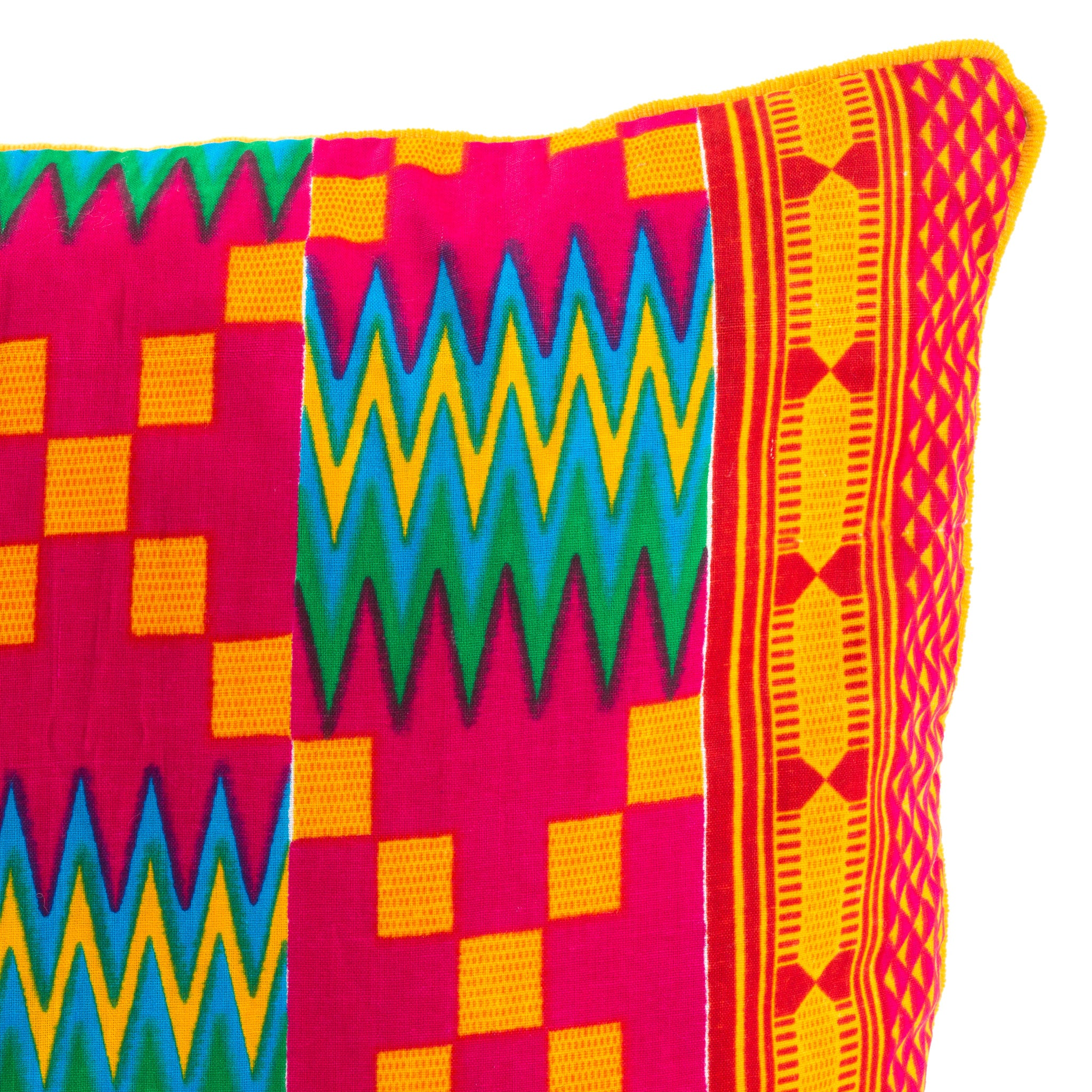 Kente/Printed/Cotton/Pattern/Ghana/Africa/Scatter/Cushion/Bright/Pink/Green/Blue/Orange/Detail/