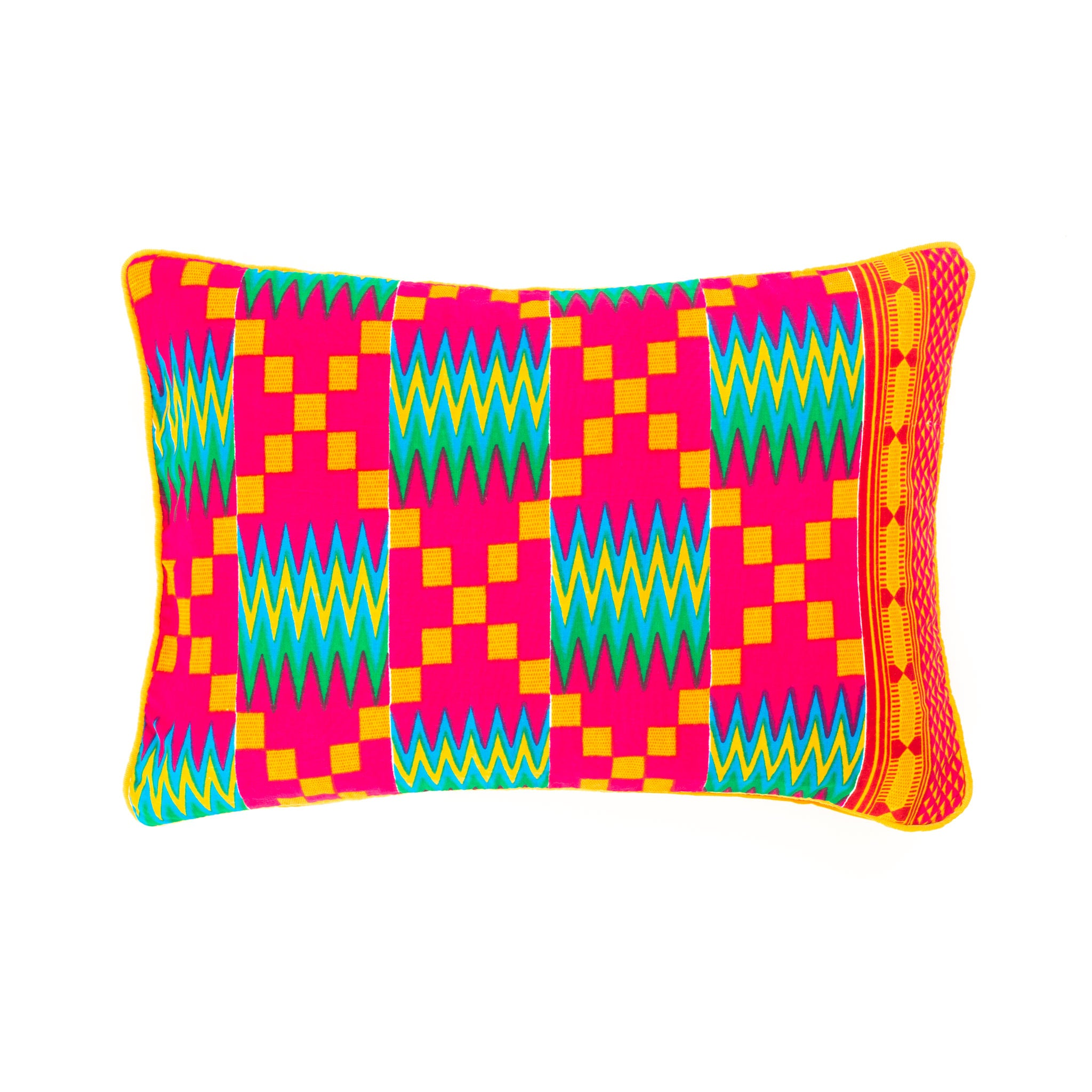 Kente/Printed/Cotton/Pattern/Ghana/Africa/Scatter/Cushion/Bright/Pink/Green/Blue/Orange/