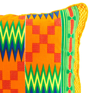 Kente/Printed/Cotton/Pattern/Ghana/Africa/Scatter/Cushion/Bright/Green/Blue/Orange/Florescent/Detail/