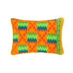 Kente/Printed/Cotton/Pattern/Ghana/Africa/Scatter/Cushion/Bright/Green/Blue/Orange/Florescent/