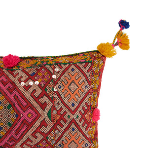 Hand Woven Red, Pink and Yellow Vintage Kilim Cushion | Latla