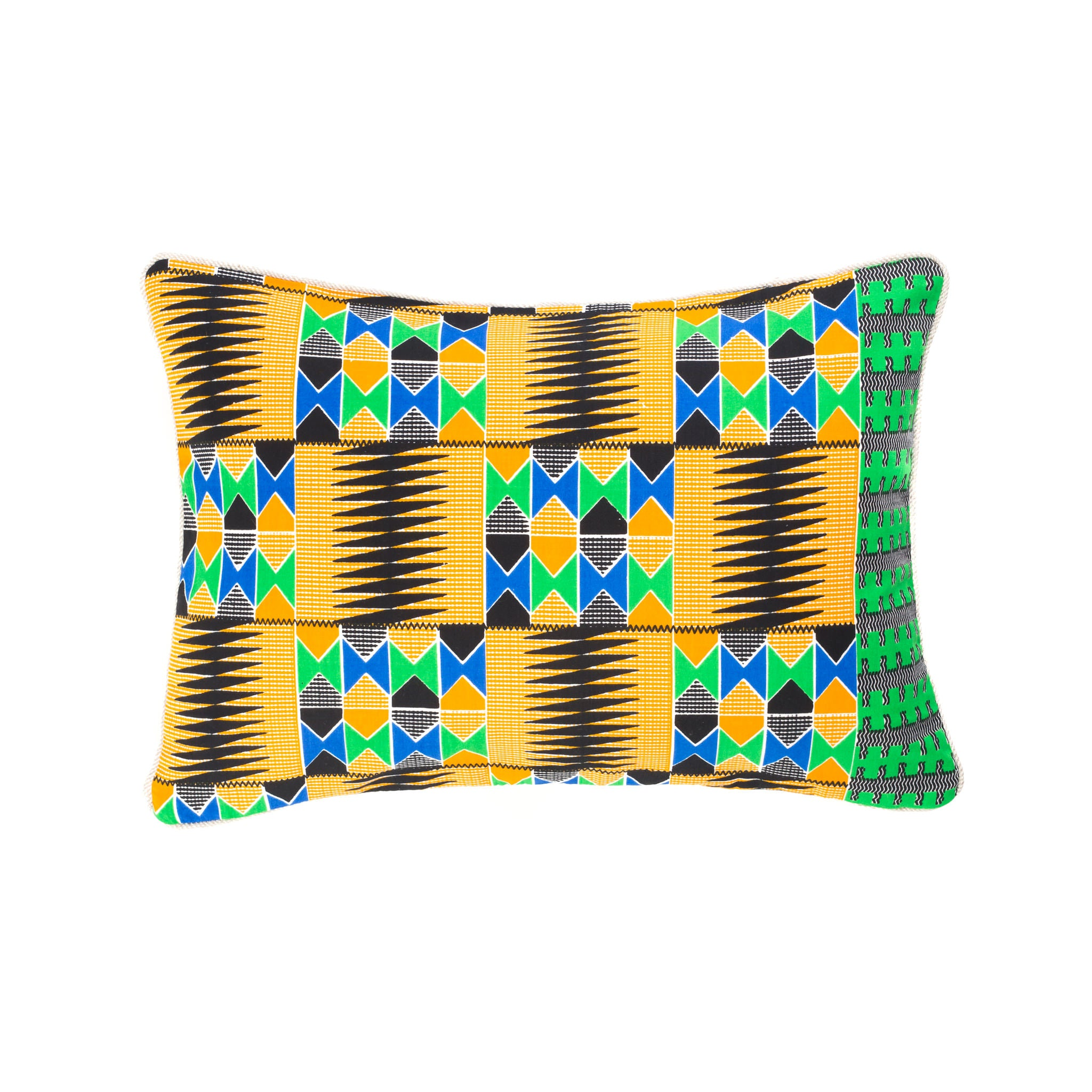 Kente/Printed/Cotton/Ghana/Africa/Scatter/Cushion/Mustard/Yellow/Green/Blue/Black/Pattern/